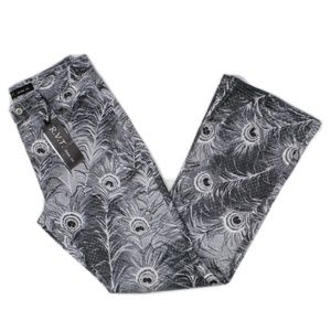 Revolt Peacock Feather Print Jeans